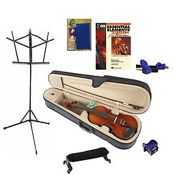 Little Kids Instruments Suzuki Violin 220 Package The Little Kids Instruments Suzuki Violin 220 package includes everything the beginning student will need to get started. Violin, Stand, Bow Buddy, Book, Shoulder rest, Tuner/Metronome & Care Kit.