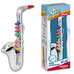 Bontempi Toy Saxophone This toy saxophone by Bontempi has 8 keys and can play a scale and the keys are color coded so children can play songs that are printed on the back of the box