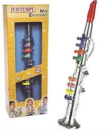 Bontempi Toy Clarinet For the budding musician. This toy clarinet by Bontempi has eight keys that can play eight different notes. The keys are color coded so children can play songs found on the back of the box.