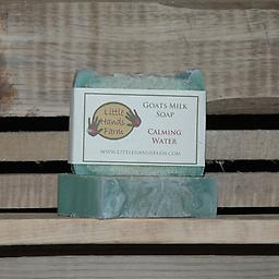 Calming Water Goat Milk Soap Bar This bar of soap is a luxuriously smooth soap that soothes and nourishes the skin. This fragrance contains hints of apricot, geranium, cucumber and the smell of fresh spring water.