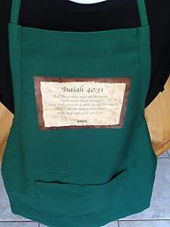 """x - 1.7Scriptures Isaiah 40:31 Apron with adjustable straps/2 pockets Isaiah 40:31 """"But those who wait on the Lord shall renew..."""" Custom printed, premium made aprons with adjustable straps and 2 pockets. Available in black, khaki, royal blue, red and dark green."""