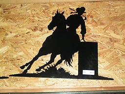 Barrel racing metal art
