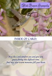 "HH1316GC Sympathy Card This 5"" x 7"" Sympathy Card has a beautiful baby Costa's hummingbird in flight. When mature, he will have a solid purple gorget and head when the sun hits it just right."