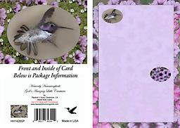 HH1428SP Set of Six - Blank Note Cards with Male Costas Set of Six - This 4.75 x 3.5 Blank Note Card has a male Costa's in flight displaying his tail all fanned out as he zips past. He is displayed in an oval framed with a background of flowers.