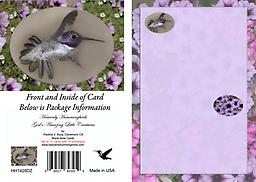 HH1428DZ Set of Twelve - This 4.75 x 3.5 Blank Note Card has a male Costa's Set of Twelve - This 4.75 x 3.5 Blank Note Card has a male Costa's in flight displaying his tail all fanned out as he zips past. He is displayed in an oval framed with a background of flowers.