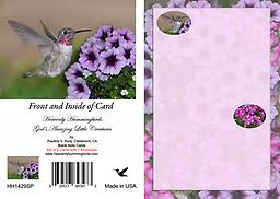 HH1429SP Blank Note Card with Male Anna's Hummingbird Set of Six - This 4.75 x 3.5 Blank Note Card has a baby male Annas landing at lavender Petunia flowers.