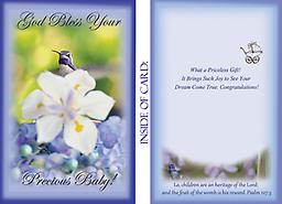 """HH1402GC Baby Congratulations Greeting Card 5"""" x 7"""" 5"""" x 7"""" - This card offers Baby Congratulations - Pictured is a very rare Costas behind a white Iris & periwinkle Flowers. q"""