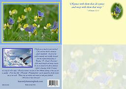 """HH1422GC 5"""" x 7"""" - Lovely periwinkle butterflies enjoy a field of yellow wildflowers on this card. It is a blank card, to be used for any occasion or just to send your personal note to a loved one."""
