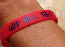 """Adult size - """"GOD HAS THIS"""" bracelet - Red with Blue writing Red bracelet with blue writing"""