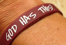 """Adult size - """"GOD HAS THIS"""" bracelet - maroon and white Maroon bracelet and white wording"""