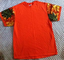 (L) TE Orange Tropical 100% cotton T-Shirt w/ Tailored sleeves of Tropical Print
