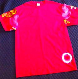 (L) TE Cardinal Red /Sunburst 100% Cotton T Shirt w/ Tailored sleeves and Back.