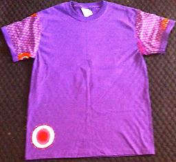(M) TE Purple w/ Burgandy Print Sleeves 100% Cotton T-Shirt w/ Sunburst shapes on sleeves, back and right side front bottom.