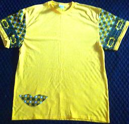 (L) TE Yellow T-Shirt 100% Cotton T-Shirt w/ Printed shapes on sleeves, back and right side front bottom.