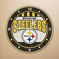 "Steeler Art Glass Clock - Steeler Art Glass Clock - battery operated - 12"" round"