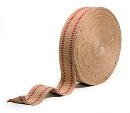 """Jute Webbing 11 Pound Red Stripe Free Shipping Free Shipping Finest webbing used in the upholstery Industry • 3 1/2"""" wide • 72-yard roll • Antique restoration • Old School Craftsmanship, recommended for large Span Sofas"""