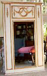 Trumeau Mirror Style-Gold Trim Onlay - Trumeau Mirror in large size to fit a most discriminating space. Handmade and signed by the artist this mirror measures 32x54 overall. A must accessory for every designers' delight.