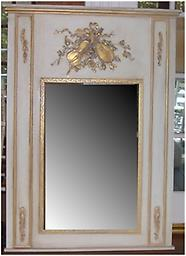 Trumeau Mirror with Music Motif Onlays Musical Instruments Garland swag Trumeau Mirror in the old world tradition. Off white with antiquing glaze rubbed to a fine patina. Size is 34.5x50 in.