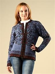 Alpaca Blues Sweater Blend of colors and hand-embroidered work! The Denim sweater is a beautiful zippered design, set in blue tones, embroidered and complemented with purple and red tones. 50% Alpaca/50% Acrylic Blend