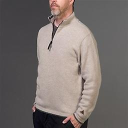 Alpaca Casual, Half-Zip Sweater Pure Baby Alpaca brings sophistication to our casual, sporty pullover. Front zip lets you fine-tune your temperature as weather or activity changes. Contrast tipping on collar, cuffs, and waistband.