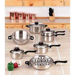 17pc T304 Stainless Steel Cookware Set World's Finest™ 7-Ply Steam Control™