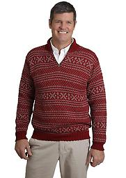 Alpaca Alpine Sweater Men love this pullover! The all over pattern, the chunky ribbed trim, the quarter-zip neck. Perhaps its the rugged look, boxy fit, and universal appeal. Whatever, whenever, ski time, anytime!