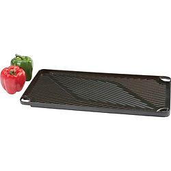 BN-Cast Aluminum Grill And Griddle This reversible pan is a grill on one side, a griddle on the other, and fits securely over 2 stovetop burners.