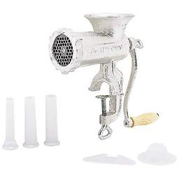 BN-LaCuisine™ #10 Hand-Operated Meat Grinder Includes #10 meat grinder, #10 cutting plate and 3 funnel attachments.