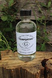Case of 4 oz bottles of 100% Pure Gum Spirits of Turpentine Twelve 4 oz glass bottles of 100% Pure Gum Spirits of Turpentine $92.40 FREE SHIPPING PLEASE INCLUDE A PHYSICAL ADDRESS WHEN PLACING YOUR ORDER.