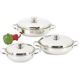 6pc 12-Element Sauté Set Features helper handles and mirror polish exteriors.