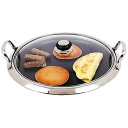BN-Chef's Large 12-Element High-Quality Stainless Steel Round Griddle Large 12-Element High-Quality Stainless Steel Round Griddle with See-Thru Glass Cover, perfect for families, that enjoy delicious breakfast together MVGRID2G_400