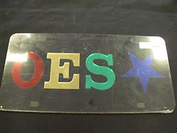OES Black Star Car Tag Black car tag with OES and star on it