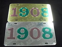 AKA 1908 Car Tag Silver/Gold Mirror 1908 car tag with AKA symbol in the back of the 1908