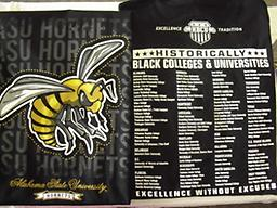 ASU Black T Shirt Excellence University black ASU T Shirt with all the HBCUs on the back side