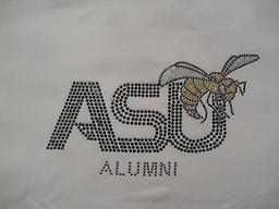 ASU White Body Shirt With Blk Stones Black Stones and some gold stones