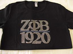 Zeta blingy Tee black blingy tee with Zeta letters and year