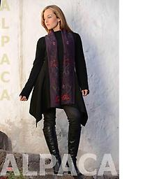 Black Floral Sweater in Alpaca Alpaca with hand-embroidered attached scarf that cascades down the front!
