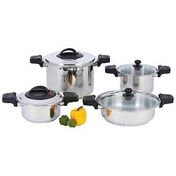 """""""Waterless"""" 12-Element T304 Stainless Steel Low-Pressure, Pressure Cooker Set Cook food in half the time by engaging the locking mechanism on the press cooker covers, or use this handsome set as standard stockpots with glass covers. """"Low-pressure"""" safely open"""