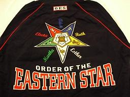 OES Black Letterman Jacket Back Side Black letterman OES jacket with a big star emblem on back with Electa, Adah, Ruth, Esther, and Martha between the stars. Order of the Eastern Star
