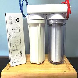 """MAT-Doble under counter dual system 1 SEDIMENT FILTER 10X2.5"""" INSDE A CLEAR HOUSING 1 CARBON BLOCK 5 MICRON MADE IN USA MAT-UNDER 2"""