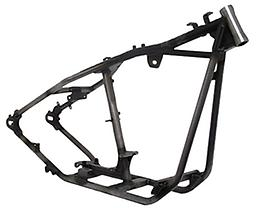 """BOBBER STYLE RIGID FRAMES FOR BIG TWIN mid 20009 •Standard Width 4 or 5 Speed Chain Drive •1 1/2"""" O.D. Drawn Over Mandrel (DOM) .188"""" wall tubing for backbone strength •1 1/4"""" O.D. Drawn Over Mandrel (DOM) .120"""" wall tubing for cradle and tail stren"""