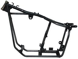"""SWINGARM FRAMES FOR BIG TWIN 4 SPEED ¿1 1/2"""" O.D. Drawn Over Mandrel (DOM) 3/16"""" wall tubing for backbone strength ¿1 1/4"""" O.D. x .120"""" wall tubing for down tubes and frame cradle ¿TIG welded on all new hardened tooling for the most accu"""