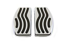 Driver Footboard Set with Wave Design Chrome billet footboard set has black molded rubber inserts with a wave design.