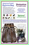 "Gemstone Crystal Medicine Bag - PROTECTION From Negative Energies - Protection Gemstone Medicine Bag with individually selected genuine natural gemstones. Customized combination of gemstones aide in protection from negative energies & bullying. 2 1/2"" x 3 1/2"" leather"