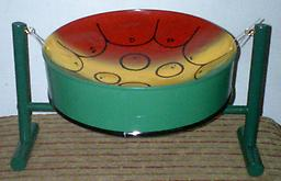 Classic Bahama Pan - Style 5 (Culture & Green) 11-inch diameter, musical instument collectible.