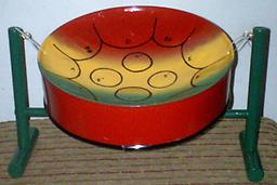 Classic Bahama Pan - Style 4 (Culture & Red) 11-inch diameter, musical instrument collectible.