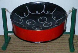 Classic Bahama Pan - Style 1 (Black & Red) 11-inch diameter mini steel drum, featuring 11 notes tuned to concert pitch. Includes playing stand, 2 pairs of mallets, and easy to play music in the keys of C, F, and G major.
