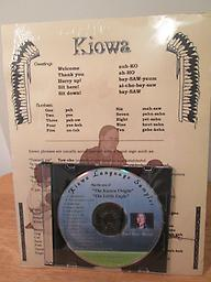 Kiowa Language Sampler & Legend CD Brief introduction to the Kiowa language with common words and phrases. Eva Lou Ware-Russell (Kauauointy) also tells the story of Little Eagle in Kiowa and English. Price includes shipping.