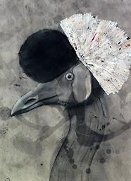 Crane Charcoal and magazine strips on paper 16x20