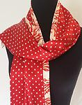 Luxurious Red Poka Dot and Coral Reversible Silk Charmeuse Scarf - Luxury hand made silk scarf.